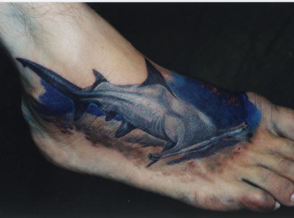 Tattoo by Mike Sirot. There are nine known species of hammerhead shark.
