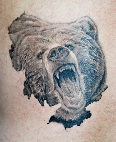 ink and steel tattoos grizzly bear tattoo designs. Tattoo by Reed Leslie.