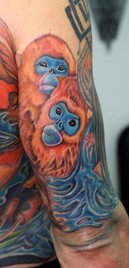 Monkey tattoo bush warriors for Art in motion tattoo